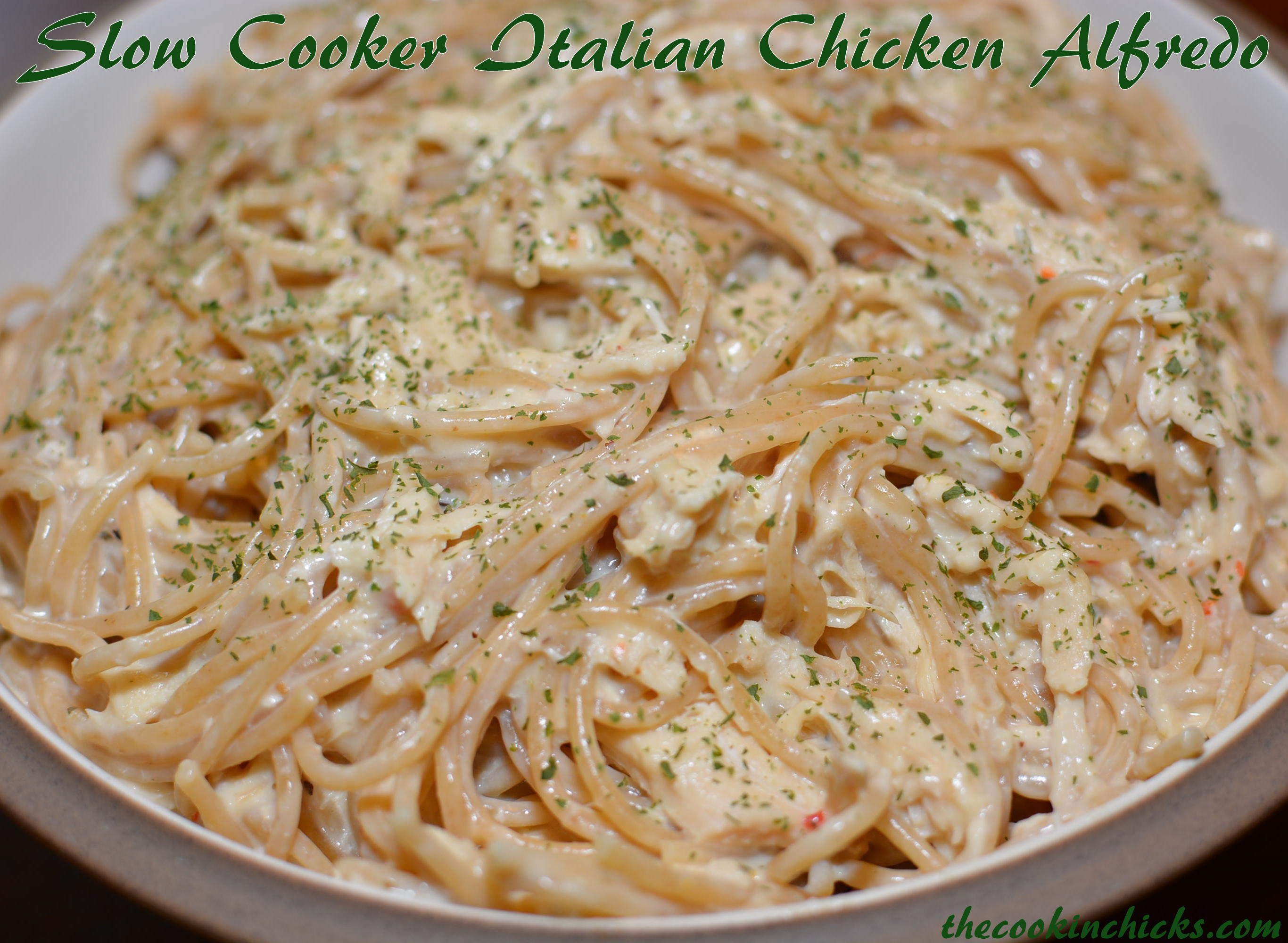 Slow Cooker Italian Chicken Alfredo | The Cookin Chicks