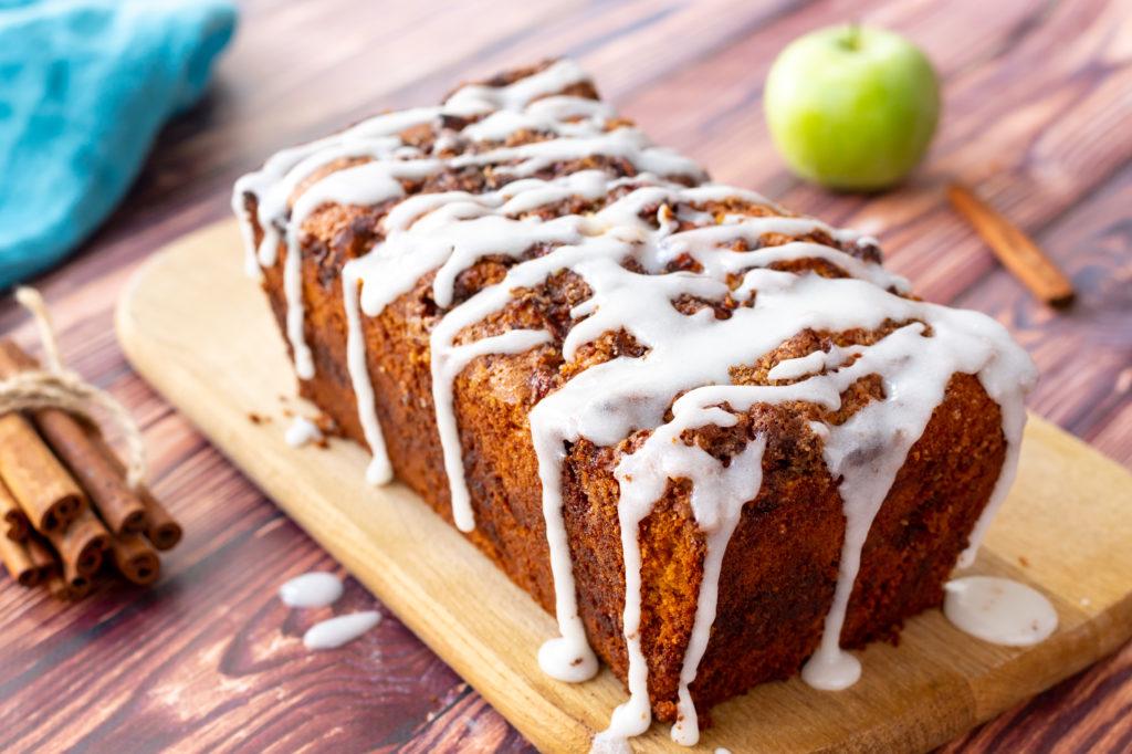 cinnamon sugar swirled throughout a flavorful apple bread