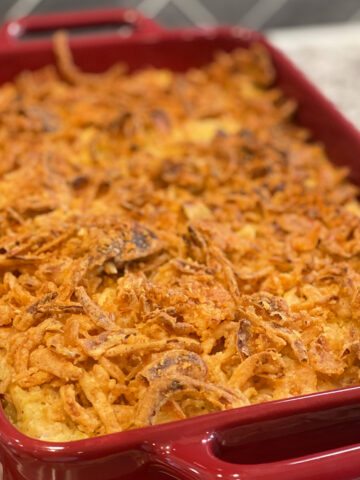 tender chicken, rice, and french fried onions combined into a flavorful casserole