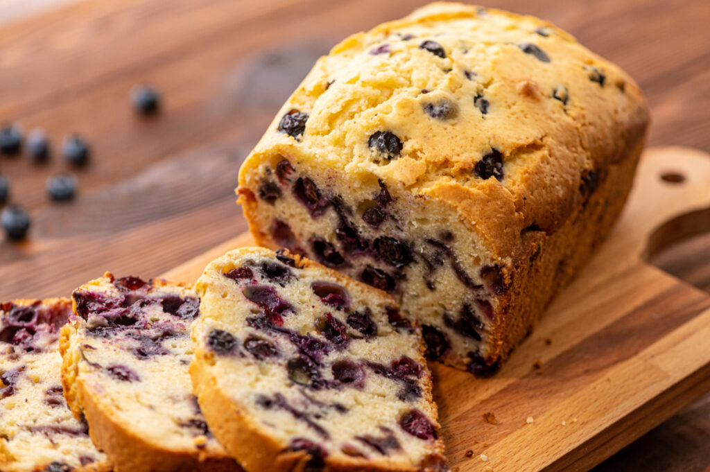 moist, flavorful quick bread with blueberries throughout