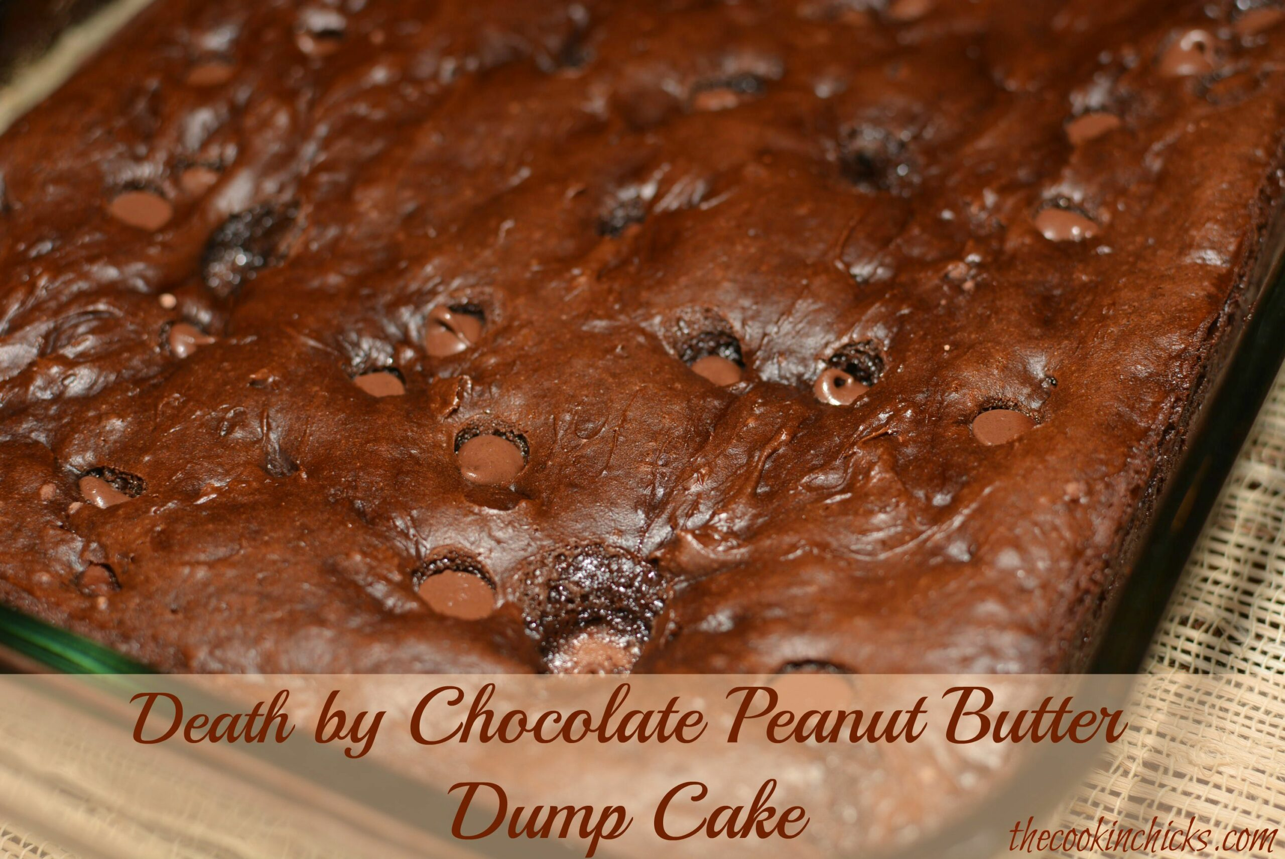 Death by chocolate peanut butter dump cake the cookin chicks for Dessert recipes using peanut butter