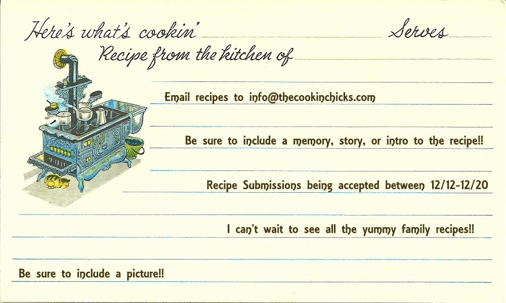 whats cookin 3 x 5 recipe card