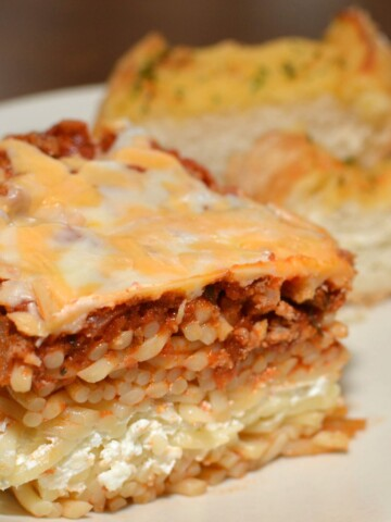 layers of beef, cheese, and pasta combined into a casserole