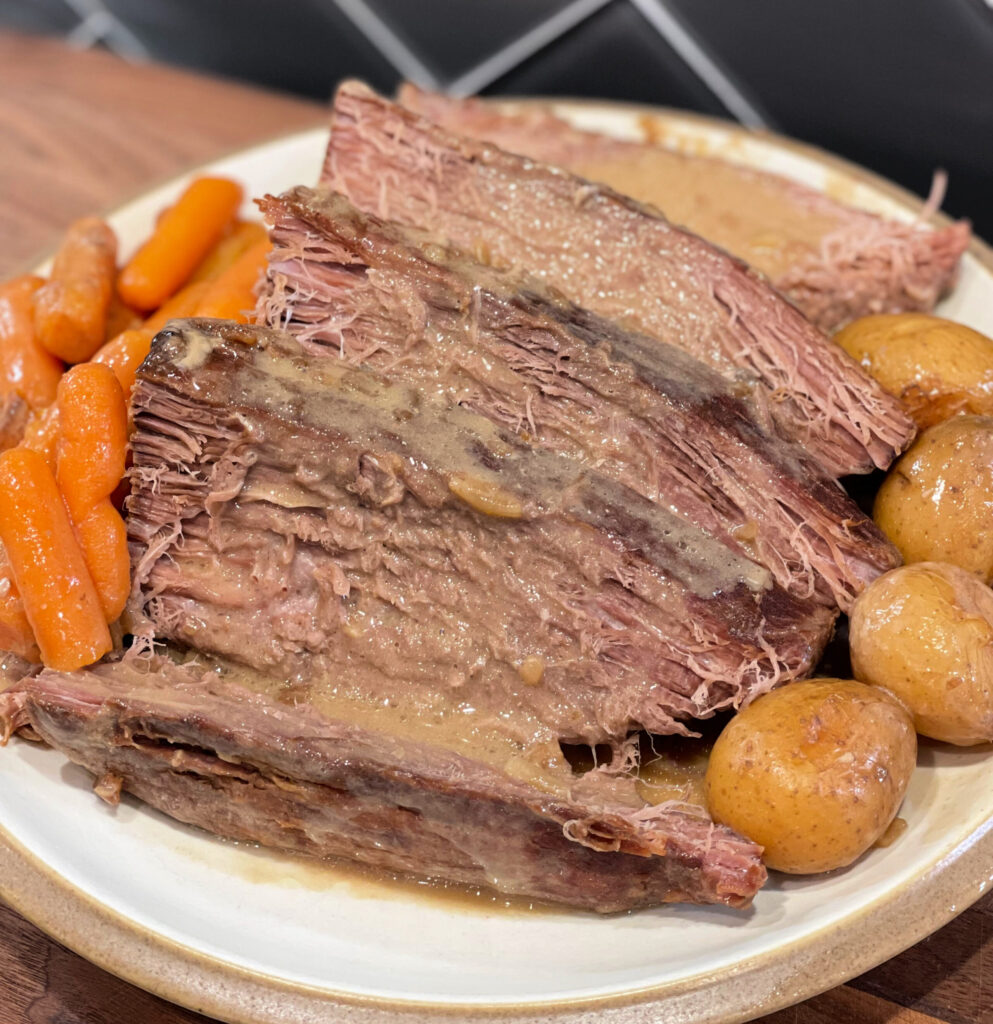 slow cooked beef with a flavorful brown gravy