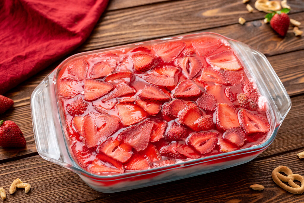 sweet and salty combine in this strawberry pretzel salad