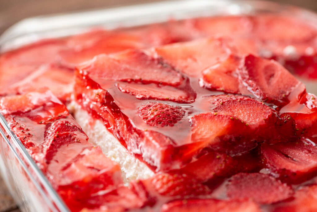 creamy layers of strawberry, jello, and pretzels combined into a flavorful salad