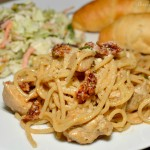 tender pasta with diced chicken in a cajun sauce