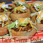 taco seasoned beef rolled into pizza crust and served with your favorite toppings