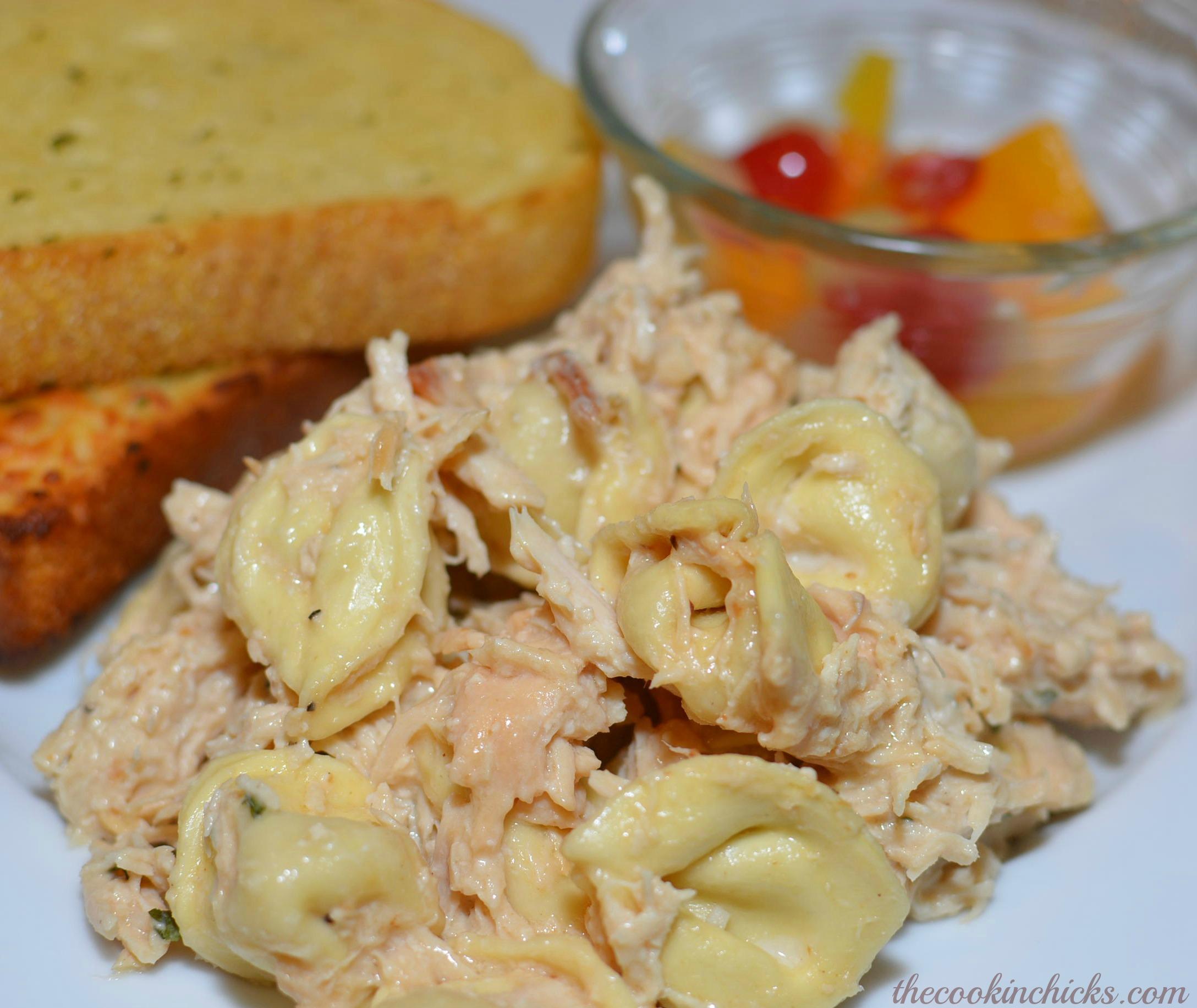 Slow Cooker Chicken Alfredo Tortellini | The Cookin Chicks