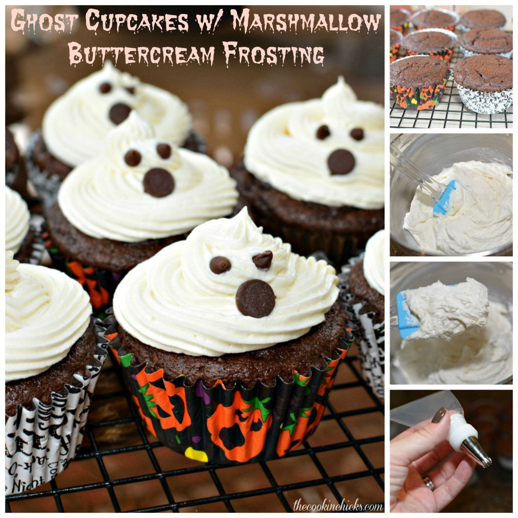 Chocolate Marshmallow-Ghost Cake And Mini Cupcakes Recipe — Dishmaps