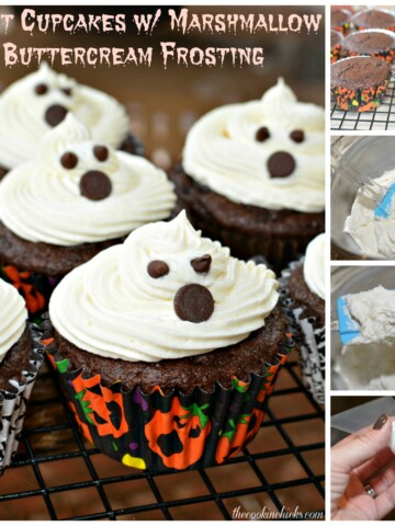moist chocolate cupcake with marshmallow buttercream frosting