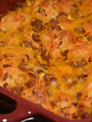 tneder biscuits with sloppy joe mixture combined into a casserole
