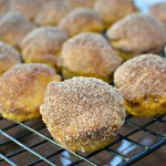 Mini bite sized pumpkin muffins with a cinnamon sugar coating
