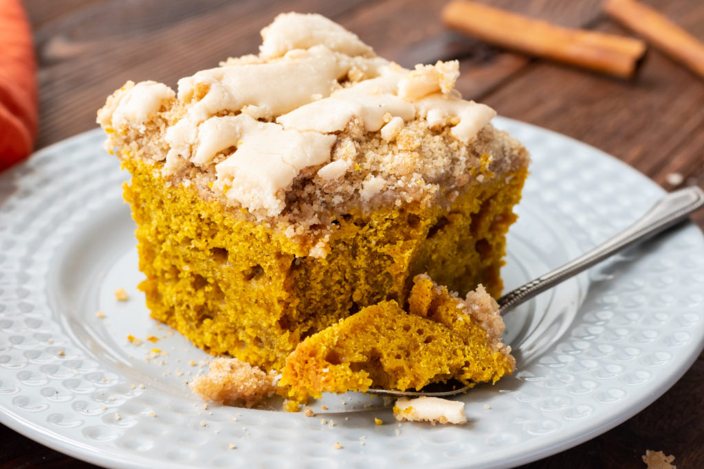 flavorful, moist pumpkin cake with a glazed topping
