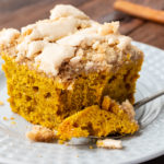 Cinnamon streusel topping over a moist, flavorful pumpkin cake