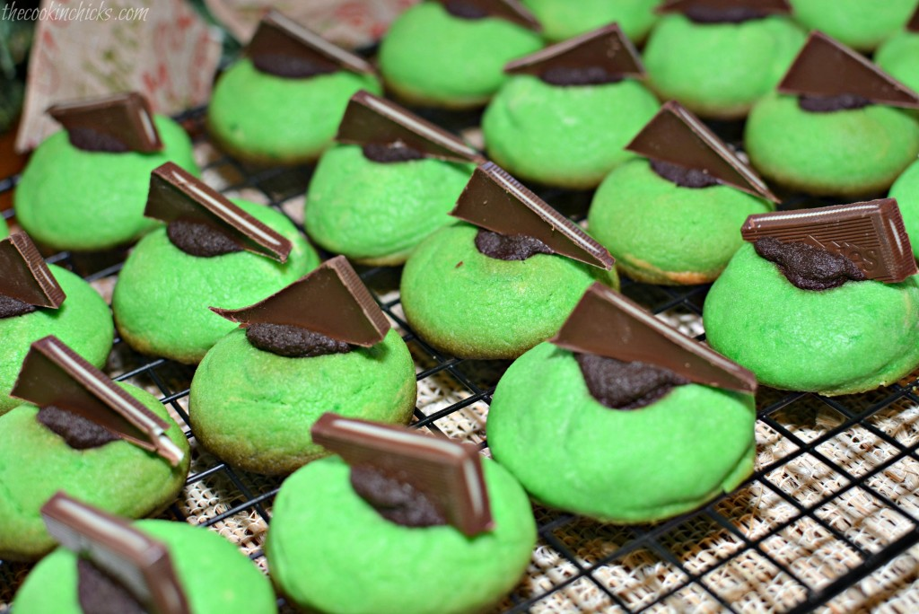 Chocolate Mint Thumbprint Cookies