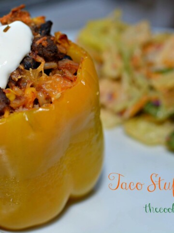 tender bell peppers stuffed with beef taco meat