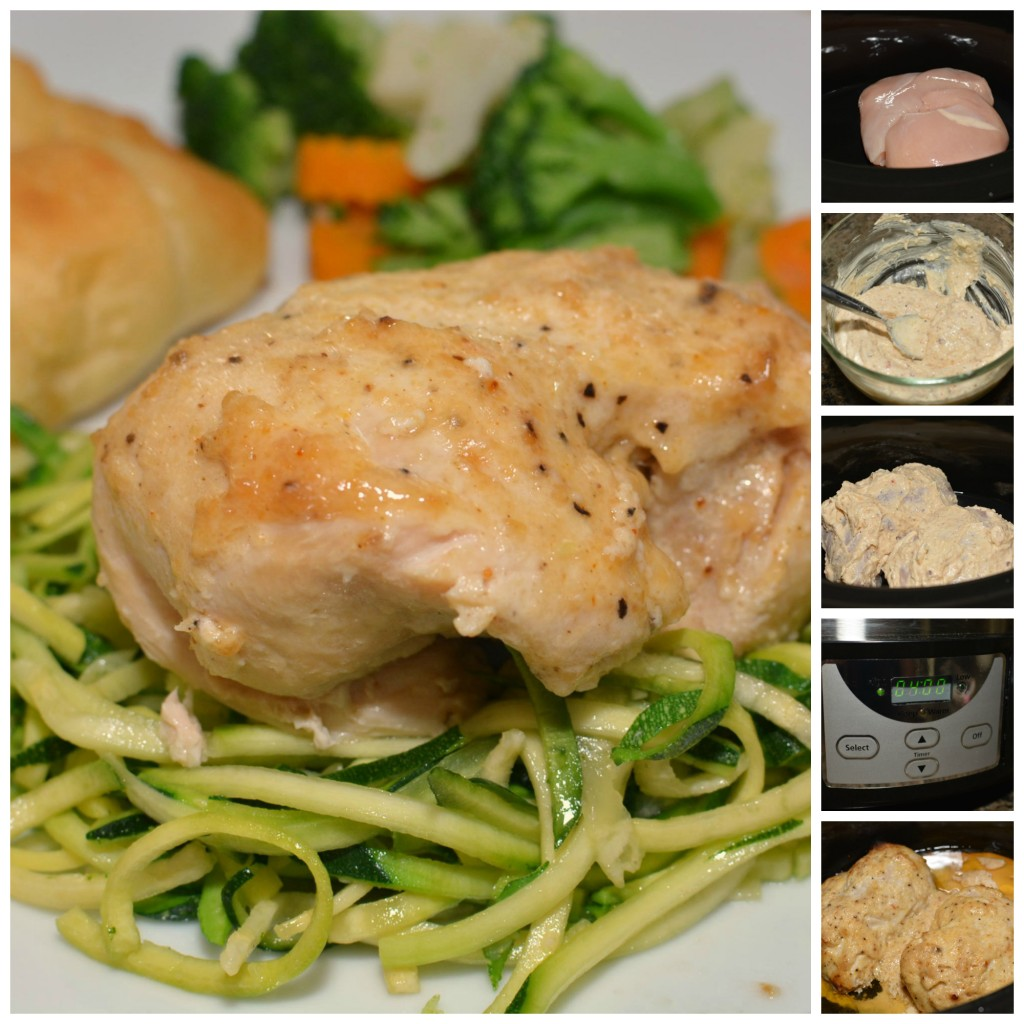 This slow cooker chicken recipe is made with creamy mayo, Parmesan cheese, and veggie noodles in the slow cooker.