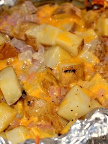 Freshly grilled cheesy garlic potatoes