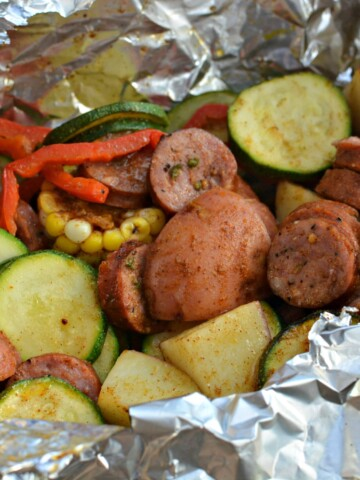 tender sausage and veggies combined into a foil packet and cooked on the grill