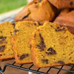 moist pumpkin bread with chocolate chips throughout