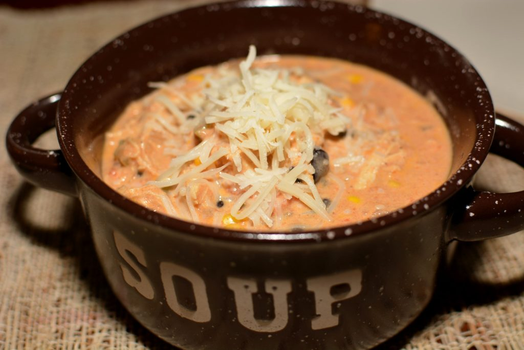 cheesy, creamy chicken enchilada soup made in no time