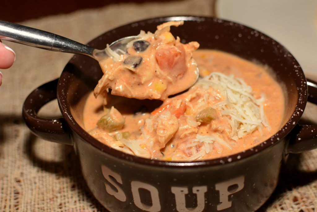 creamy soup with all the flavors of chicken enchiladas in every bite