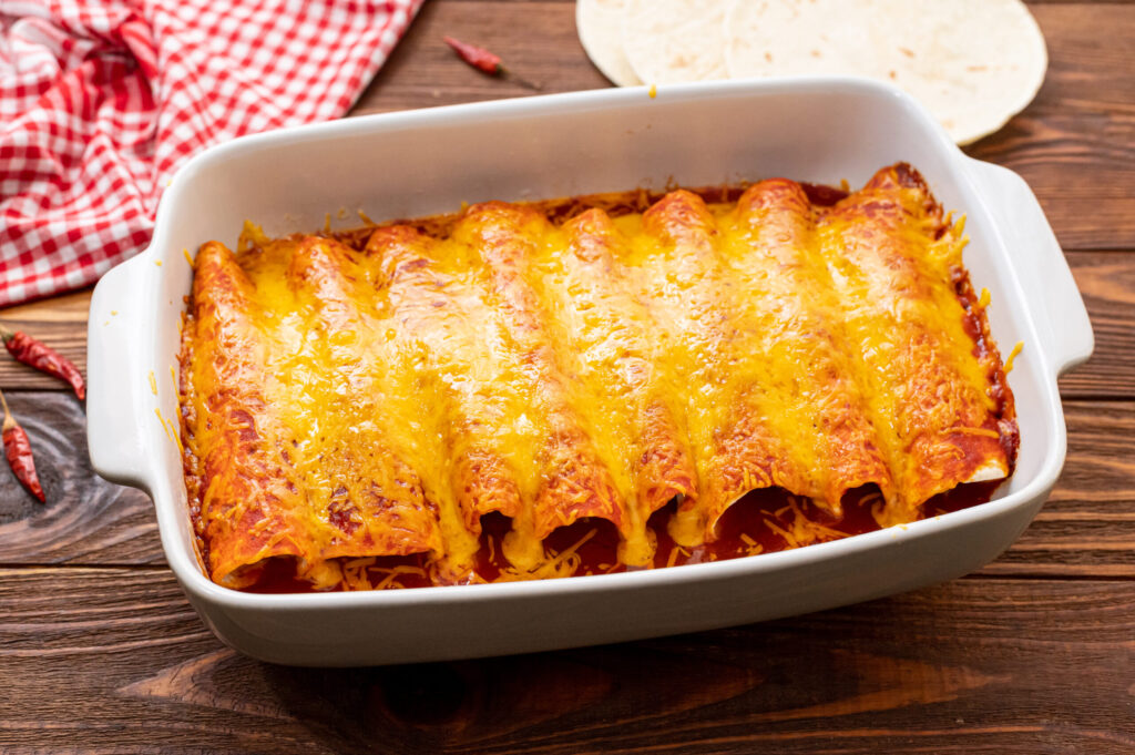 Fresh out of the oven Easy Beef Enchiladas