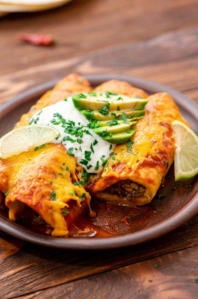 Warm and delicious beef enchiladas