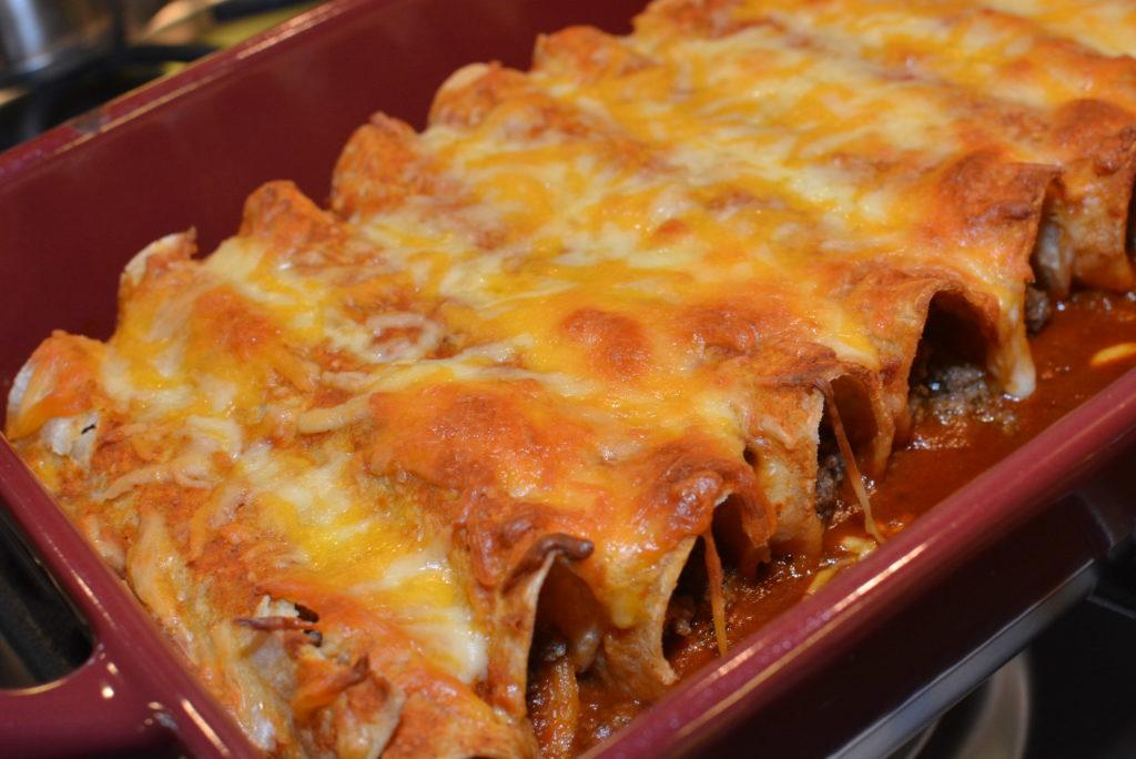 Cheesy beef enchiladas