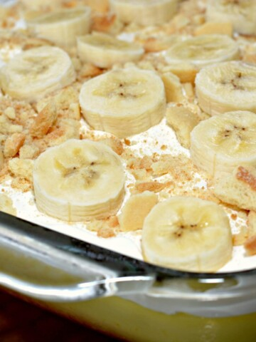 all the flavors of banana pudding come together in this poke cake
