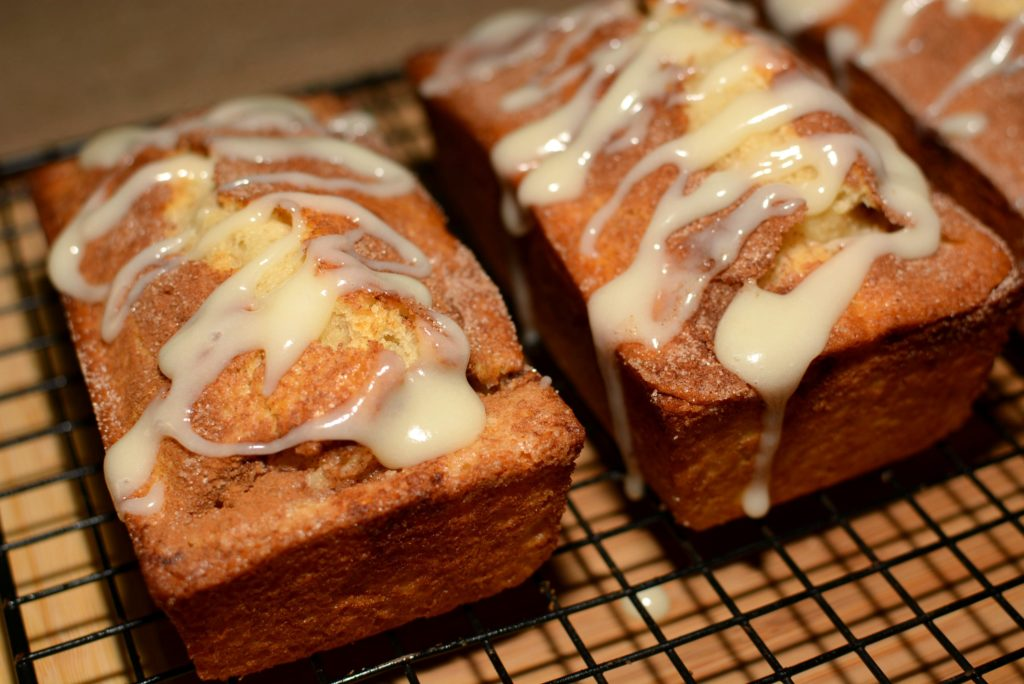 all the flavors of a cinnamon roll come together in this quick bread
