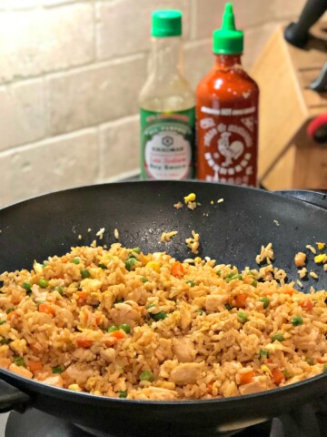 Chicken Fried Rice in a Wok ready to be served
