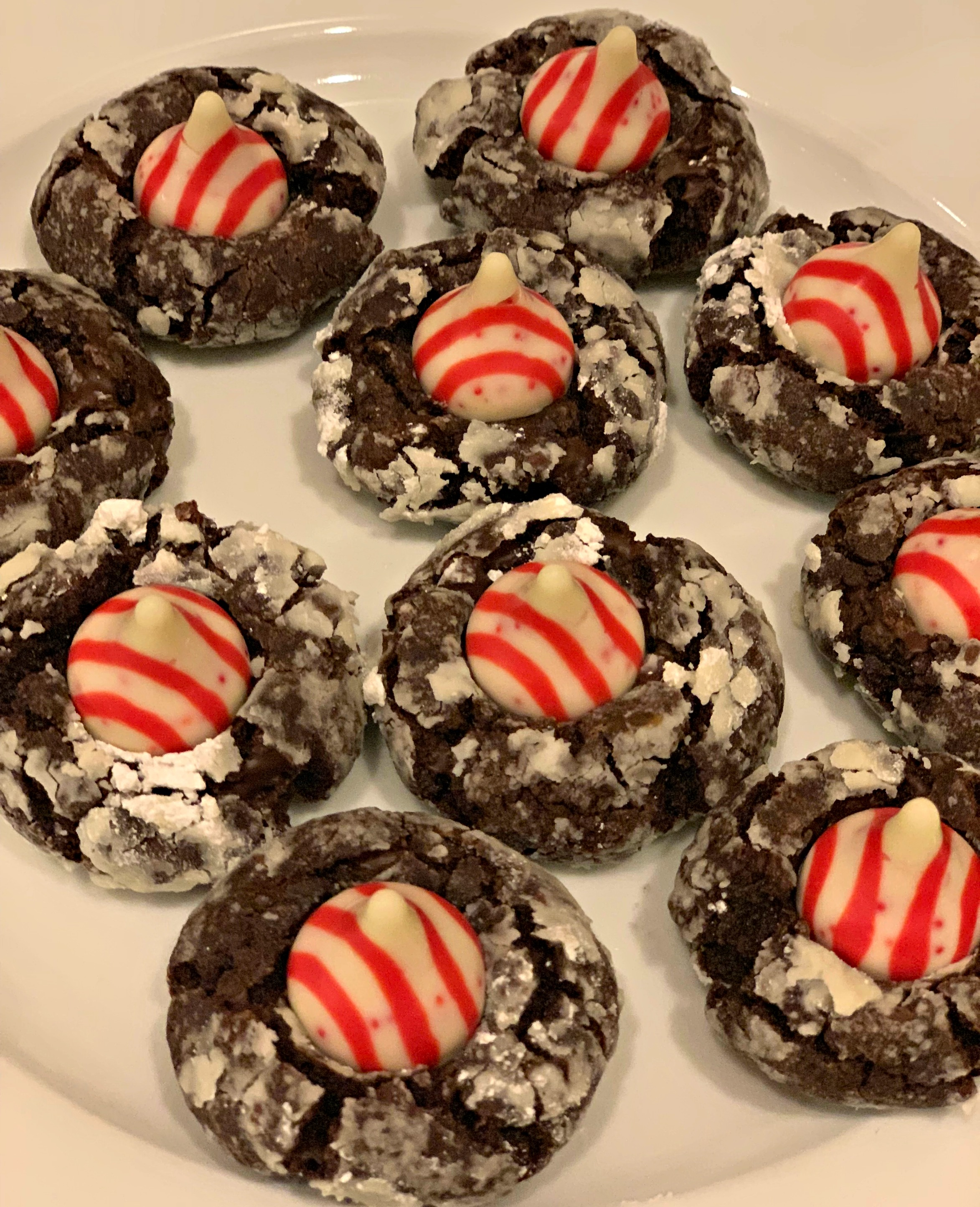 Chocolate Crinkle Candy Cane Blossoms