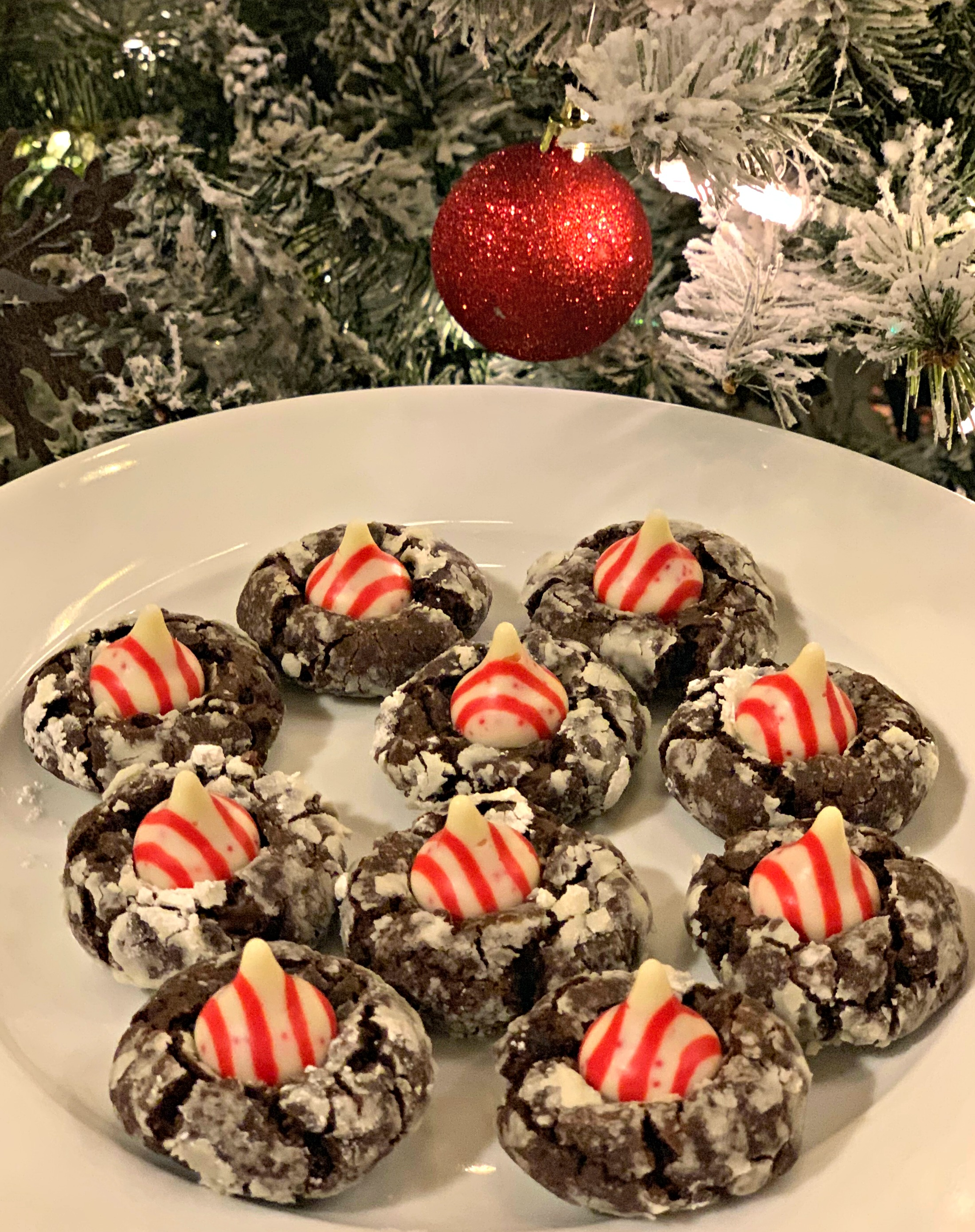 Chocolate Crinkle Candy Cane Blossoms The Cookin Chicks