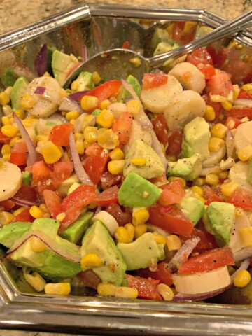 fresh vegetables combined into this hearts of palm salad