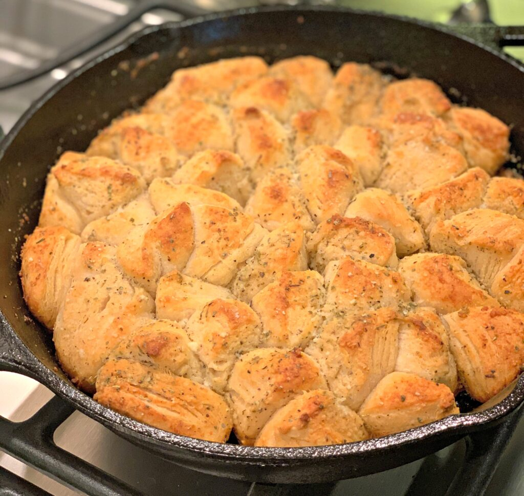 fluffy biscuits with a garlic parmesan coating
