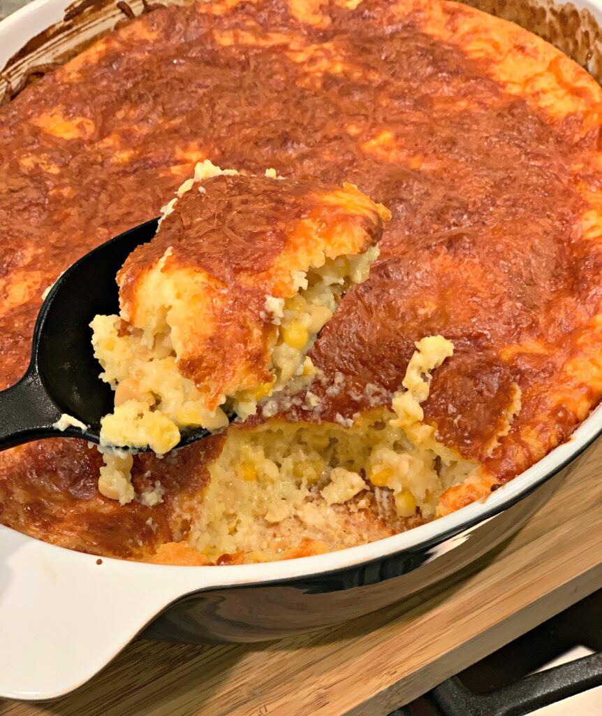 Simple Cornbread Casserole fresh out of the oven