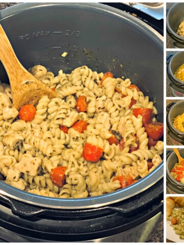 chicken, pasta, tomatoes, and parmesan coated in a flavorful pesto sauce
