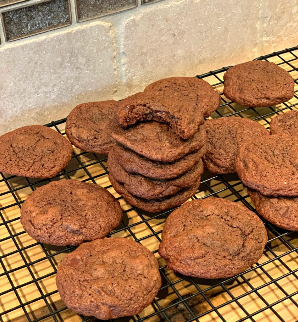 fudgey chocolate cookies that take on a brownie taste to them