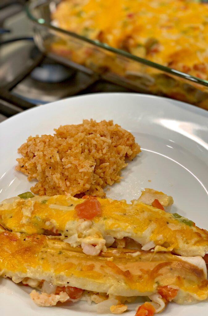 Shrimp enchiladas with Best Ever Instant Pot Mexican Rice