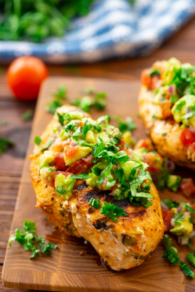 Closeup of fresh cilantro lime chicken