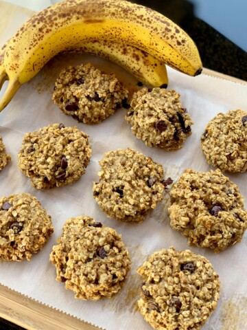 oats, honey, peanut butter, and banana combined into a healthy breakfast cookie