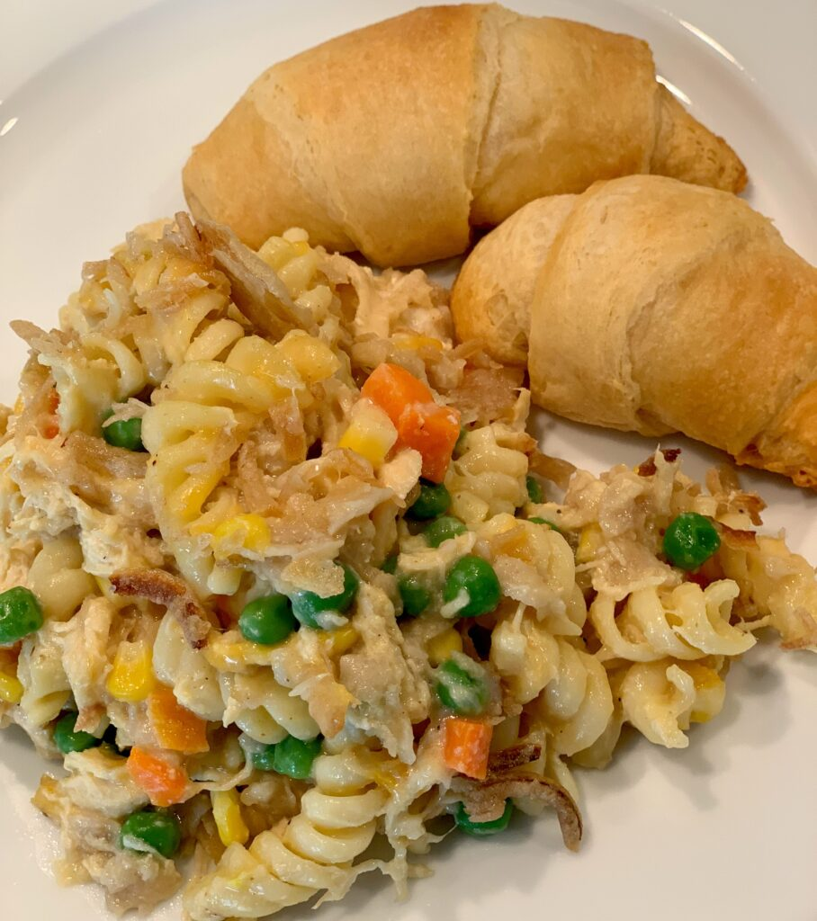 Warm and fresh casserole served up with crescent rolls!