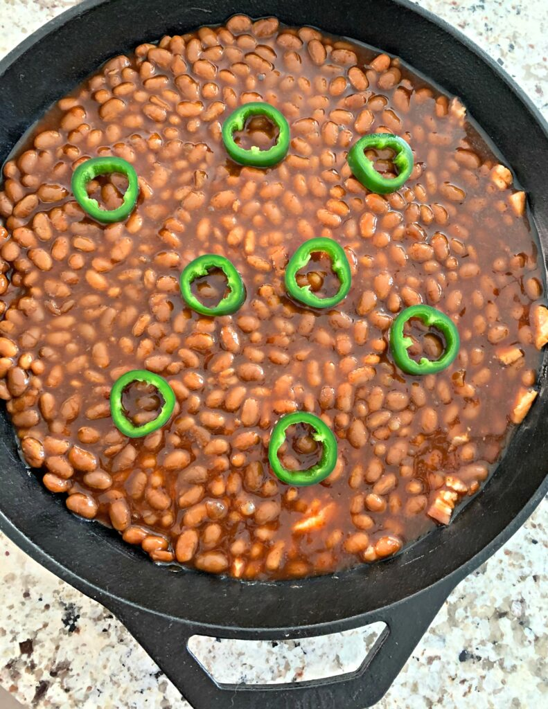 Baked beans all prepped and ready for the smoker