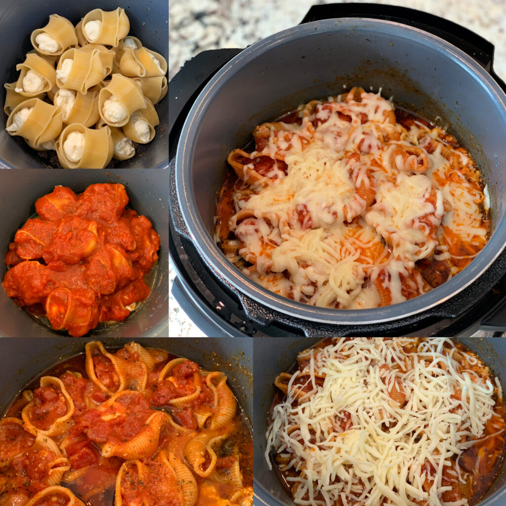 step by step on how to cook stuffed shells in your instant pot