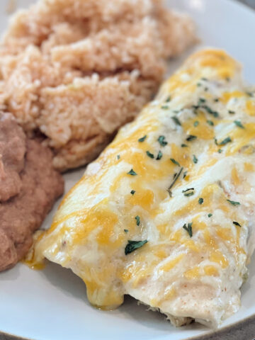 Cheesy chicken enchiladas served on a plate with rice and beans.