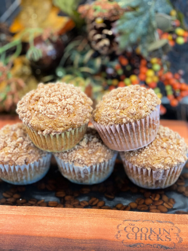 Flavorful pumpkin muffins with a cinnamon streusel topping