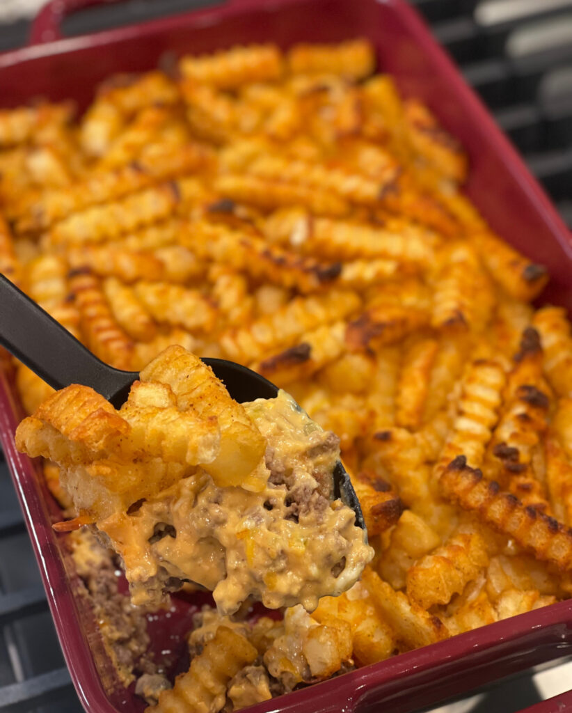 cheeseburger and french fries in casserole form
